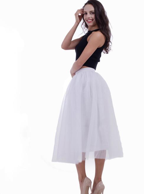 White Large Pendulum Gauze Skirt