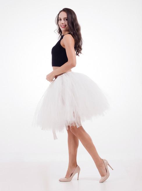 Women Ivory White Tulle Short Dance Tutu Skirt