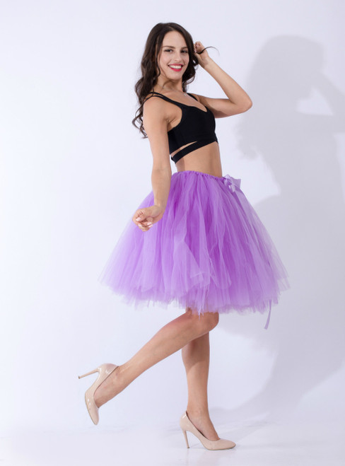 Women Lavender Tulle Short Dance Tutu Skirt