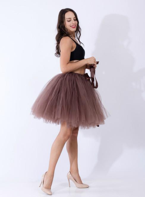 Coffee Tulle Short Dance Tutu Skirt