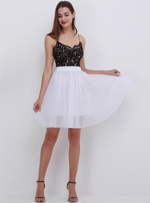 White Mesh Sweet Tulle Tutu Skirt