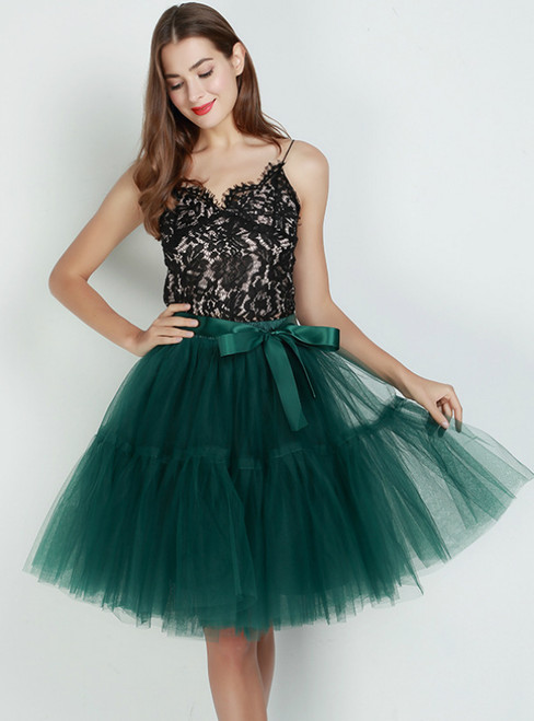 Dark Green Puff Tulle Tutu Skirt