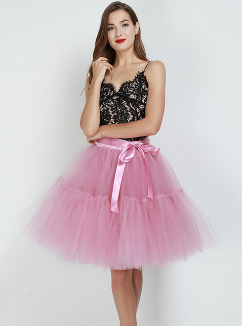 Rubber Red Puff Tulle Tutu Skirt