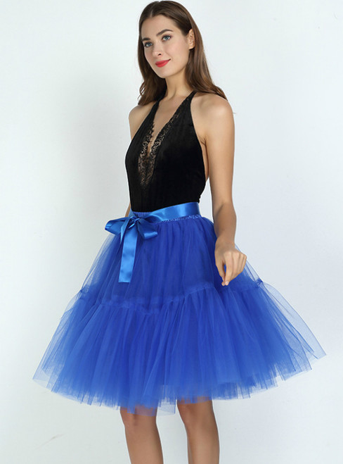 Royal Blue Puff Tulle Tutu Skirt
