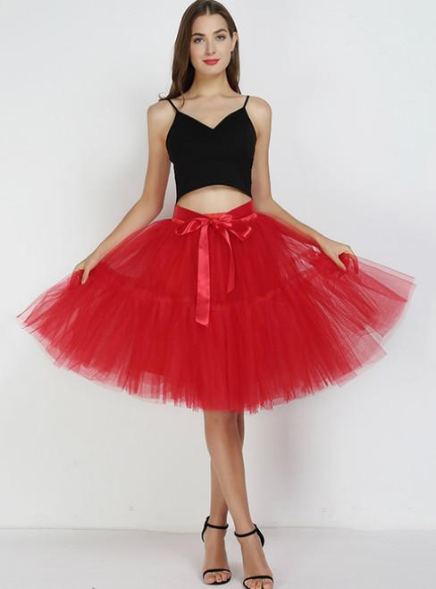 Women Red Puff Tulle Tutu Skirt