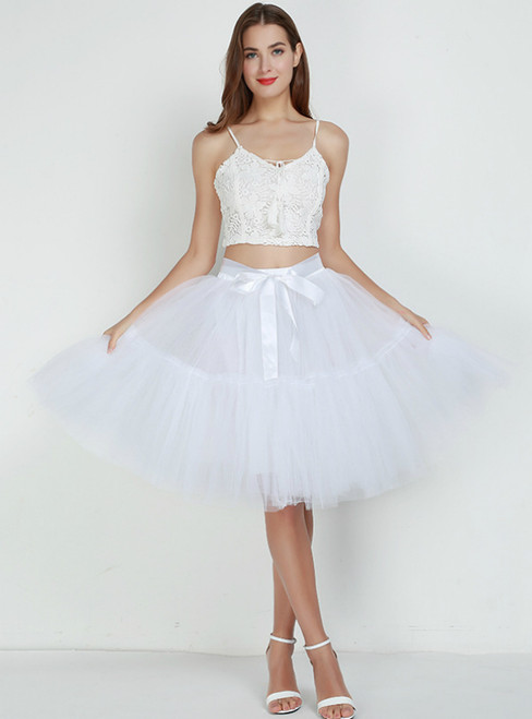 Women White Puff Tulle Tutu Skirt