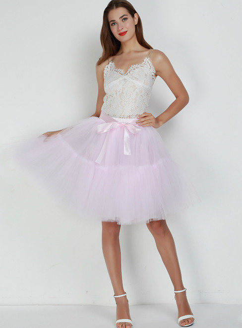 Women Pink Puff Tulle Tutu Skirt