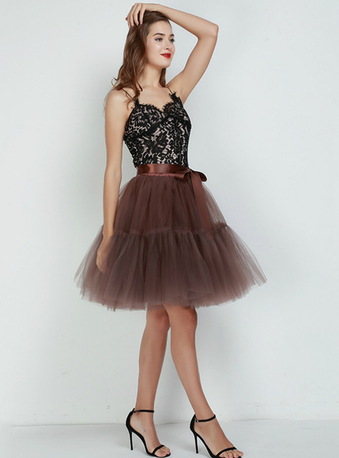 Women Coffee Puff Tulle Tutu Skirt
