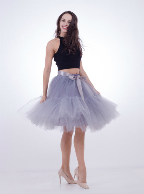 Women Gray Puff Tulle Tutu Skirt