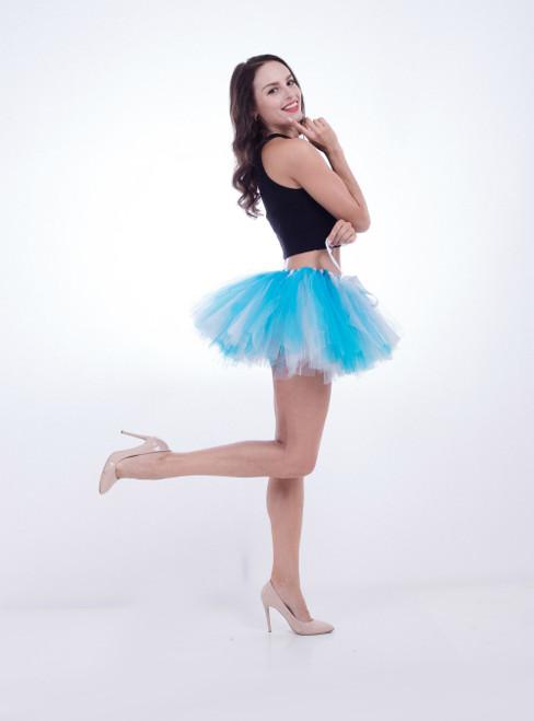 White + Blue Pettiskirt Tulle Tutu Skirt