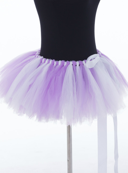 Lavender + White Mini Tulle Dance Tutu Skirt
