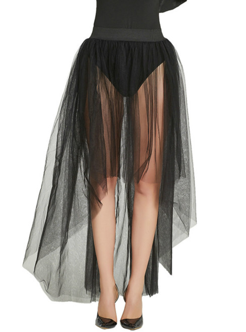 Sexy Mesh Perspective Black Veil Skirt