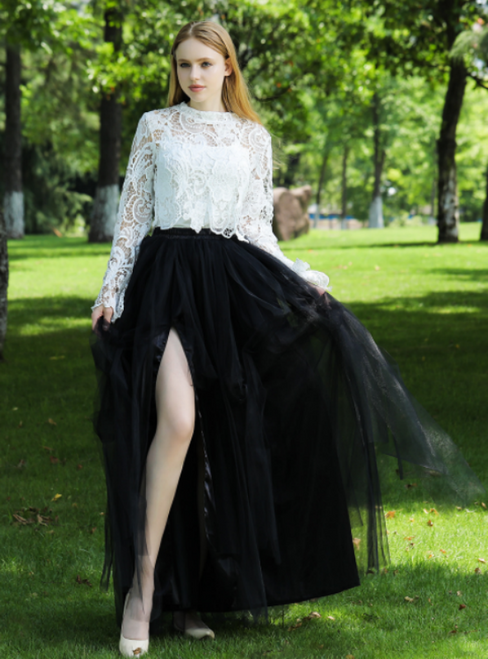 exy Black Irregular Tulle Skirt