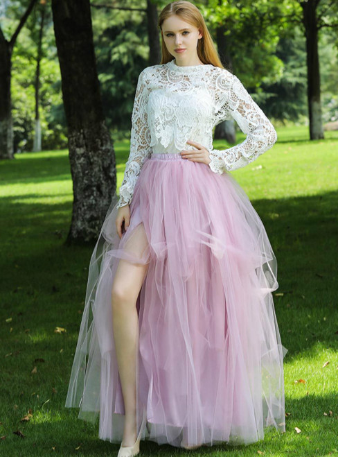 Sexy Dusty Pink Irregular Tulle Skirt