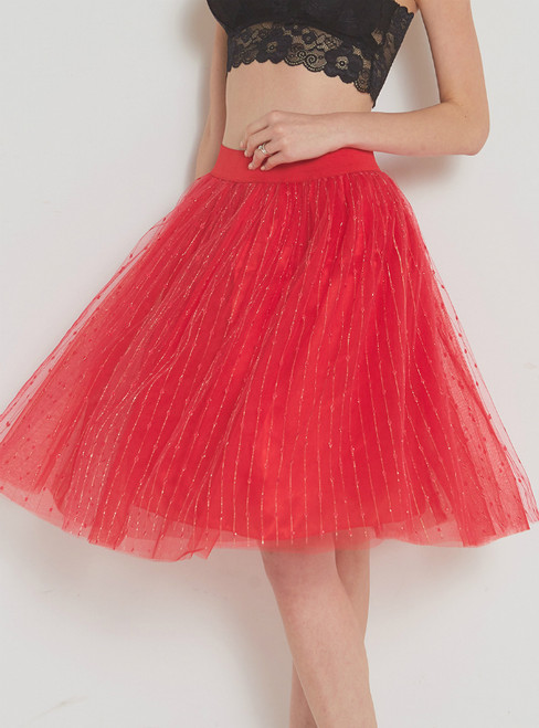 Red Bright Silk Tulle High Waist Skirt