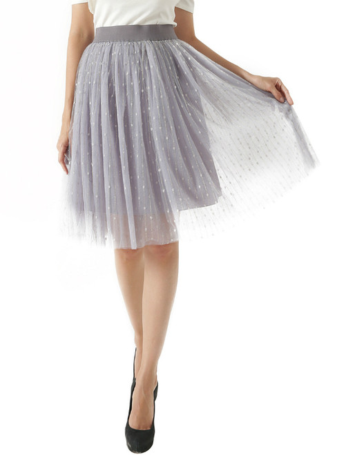Gray Bright Silk Tulle High Waist Skirt