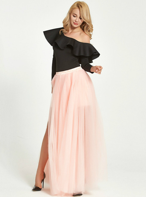 Sexy Peach Pink Mesh Long Tulle Skirt
