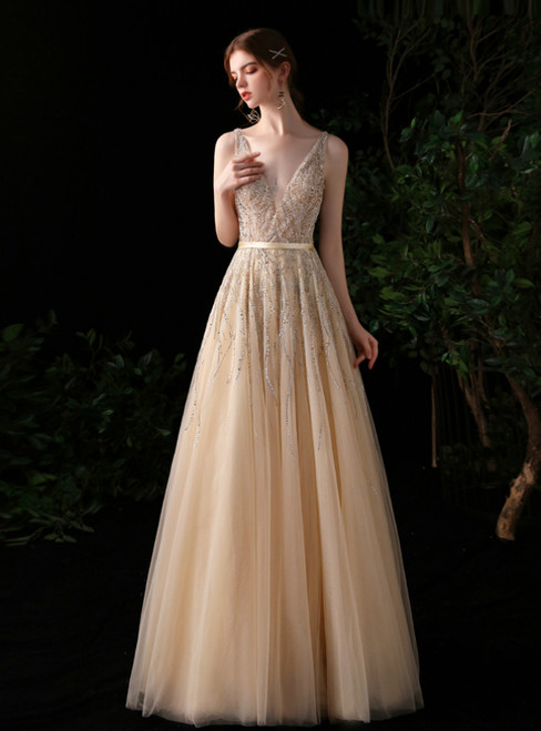 A-Line Champagne Tulle Deep V-neck Backless Beading Prom Dress