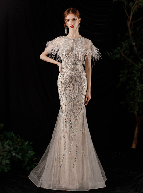 Champagne Gray Mermaid Tulle Feather Beading Prom Dress