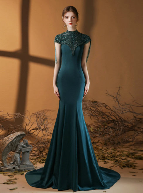 Green Mermaid Satin High Neck Cap Sleeve Beading Prom Dress