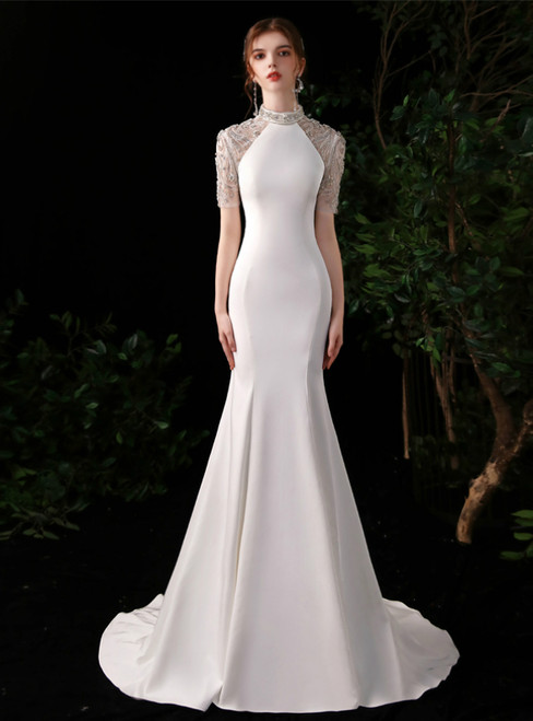 White Mermaid Satin Short Sleeve High Neck Beading Crystal Prom Dress