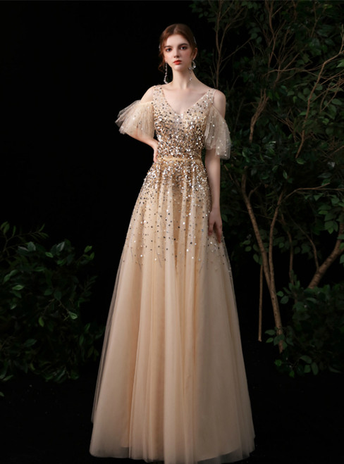 A-Line Gold Tulle V-neck Sequins Long Prom Dress