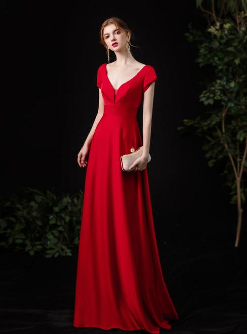 Simple Red Satin V-neck Short Sleeve Prom Dress