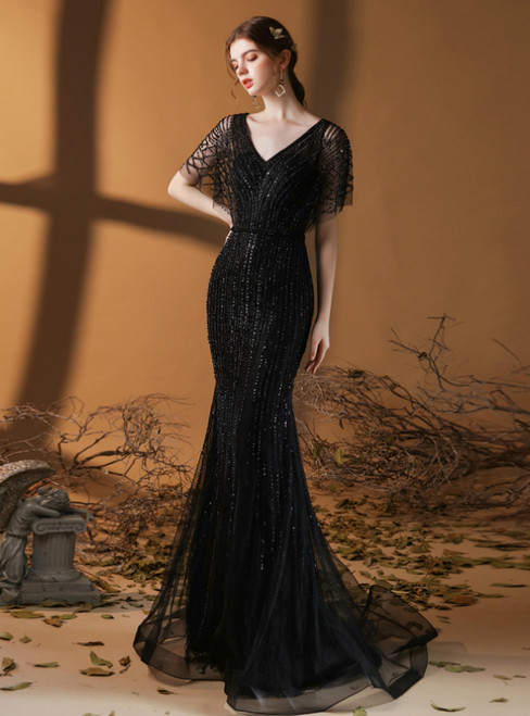 Black Mermaid Tulle V-neck Flying Sleeve Beading Prom Dress
