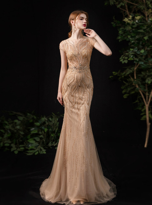 Champagne Scoop Mermaid Tulle Cap Sleeve Beading Prom Dress