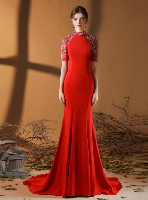 Red Mermaid Satin Short Sleeve Beading Crystal Prom Dress
