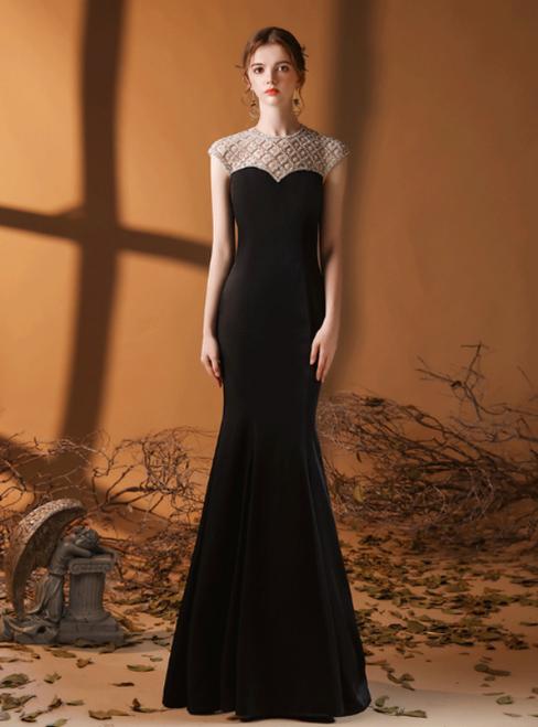 Black Mermaid Satin Cap Sleeve Beading Prom Dress