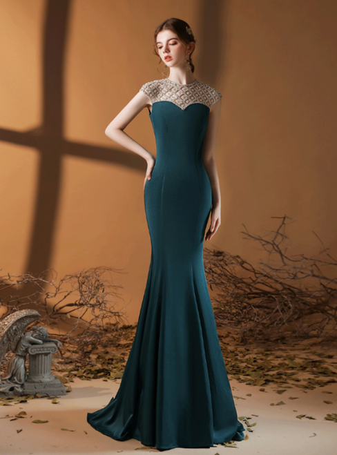 Dark Green Mermaid Satin Cap Sleeve Beading Prom Dress