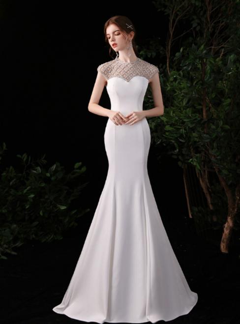 White Mermaid Satin Cap Sleeve Beading Prom Dress