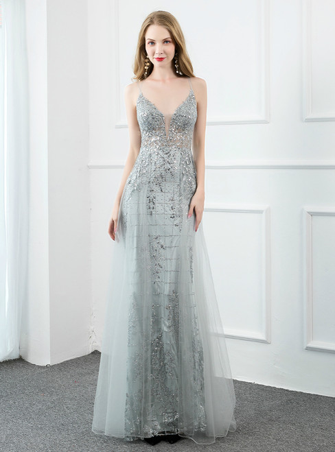 Silver Gray Tulle Spaghetti Straps Backless Sequins Prom Dress