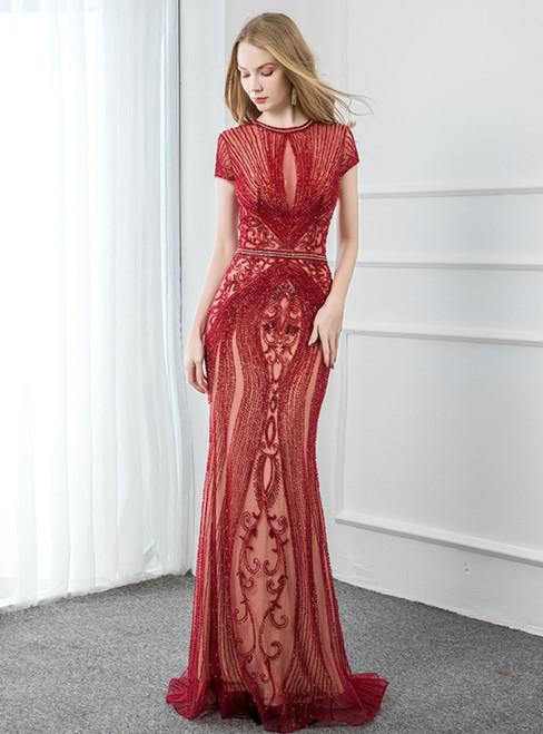 Sexy Burgundy Mermaid Tulle Cap Sleeve Beading Prom Dress