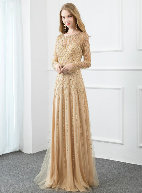 Yellow Tulle Long Sleeve Beading Sequins Prom Dress