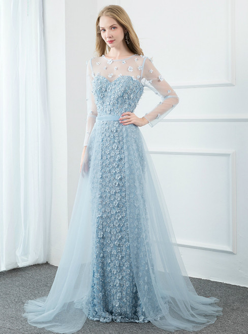 Light Blue Mermaid 3D Flower Long Sleeve Prom Dress With Removable Train