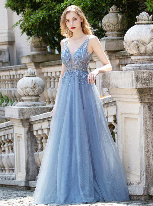 Blue Tulle Deep V-neck Sequins Sleeveless Prom Dress
