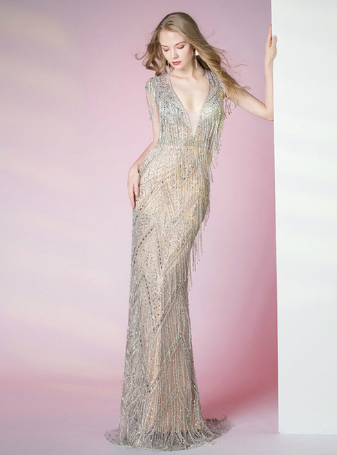 Champagne Mermaid Sequins V-neck Cap Sleeve Prom Dress