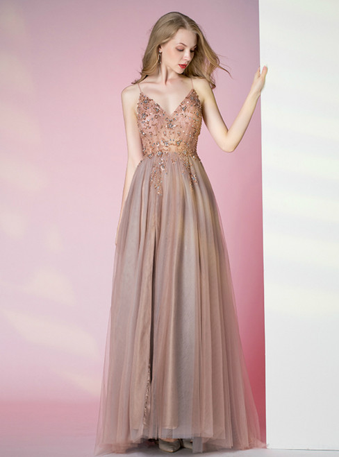 A-Line Pink Tulle V-neck Beading Sequins Prom Dress