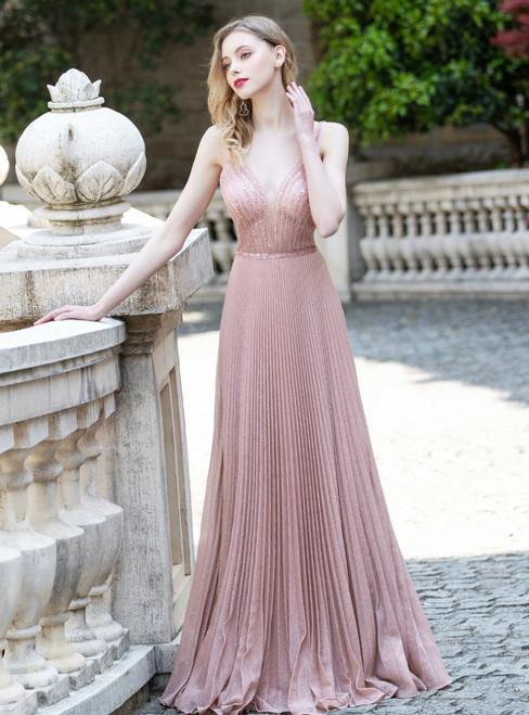 Pink Sequins V-neck Pleats Beading Sequins Prom Dress