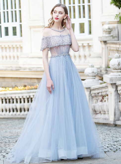 Light Blue Tulle Beading Sequins Scoop Prom Dress