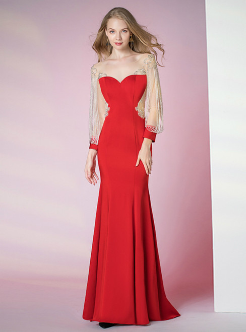 Red Mermaid Satin Long Sleeve Illusion Beading Sequins Prom Dress