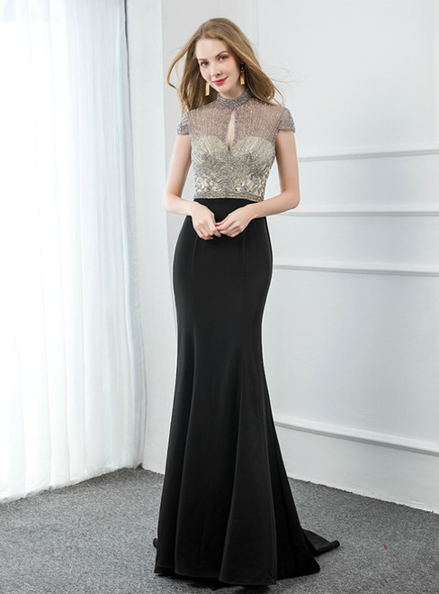 Black Mermaid Lockhole Satin Cap Sleeve Beading Prom Dress