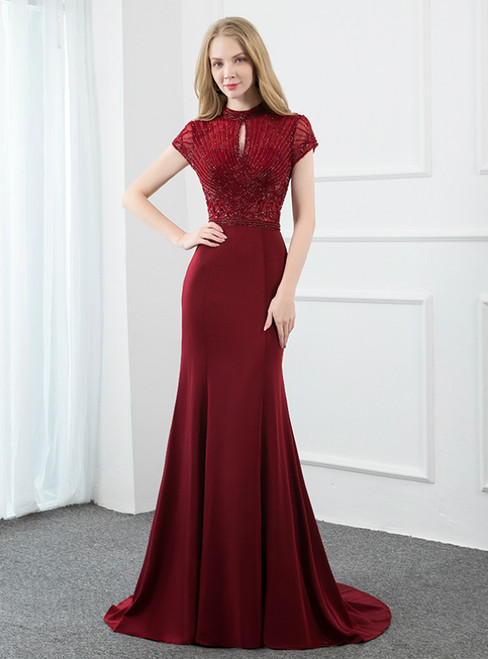 Burgundy Mermaid Lockhole Satin Cap Sleeve Beading Prom Dress