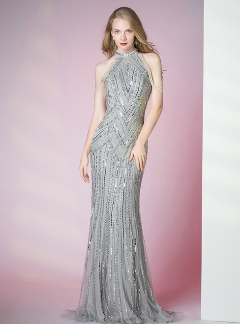 Silver Gray Mermaid Halter Sequins Beading Prom Dress