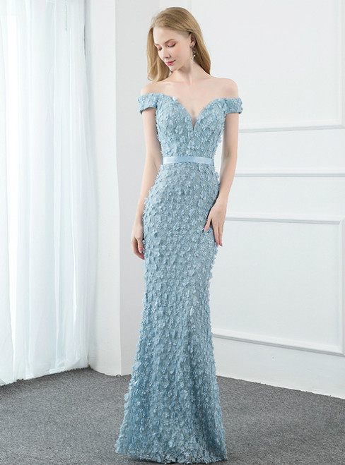 Light Blue Mermaid Off the Shoulder 3D Flower Prom Dress
