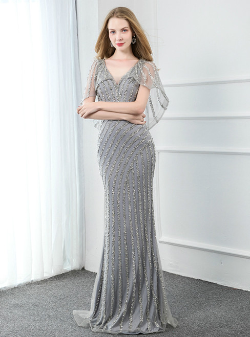 Silver Gray Mermaid V-neck Beading Handmade Prom Dress