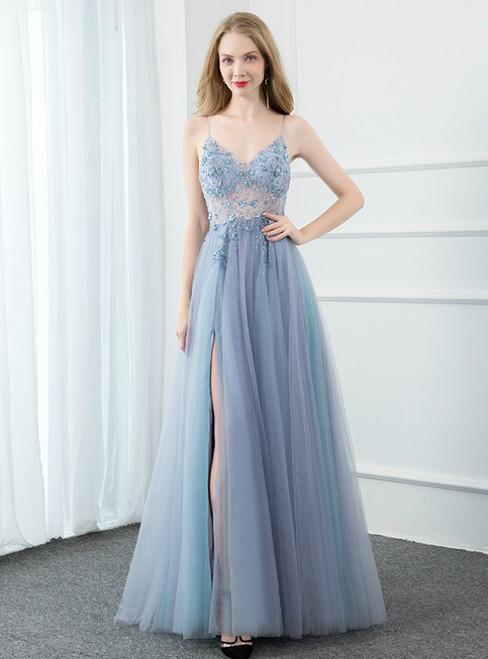 Blue Tulle V-neck Spaghetti Straps Beading Prom Dress