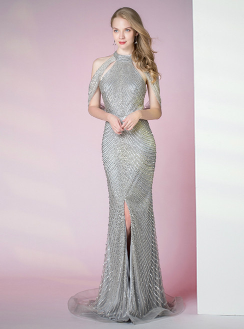Silver Gray Mermaid Halter Sequins Beading Formal Prom Dress With Split